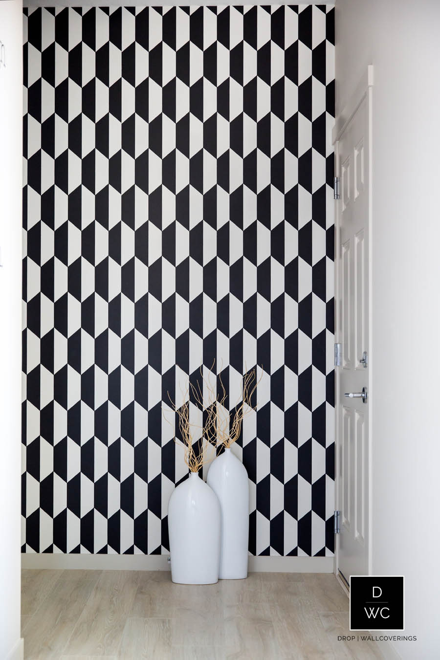 Cole amp Son Frontier Tile Black And White Wallpaper By