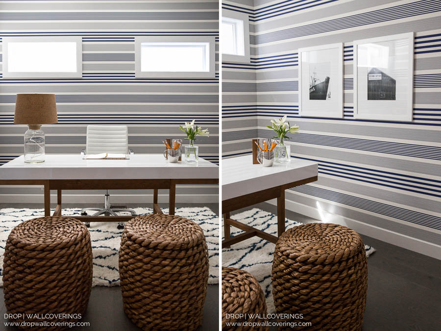 Nautical Blue And White Striped Wallpaper Railroad Installation By Calgary Professional Installer Drop Wallcoverings